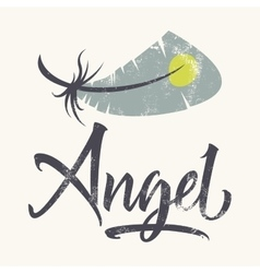 T-shirt printing logo template angel hand drawn vector