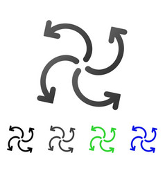 Turbine rotation flat gradient icon vector