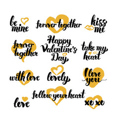 Valentine day hand drawn quotes vector