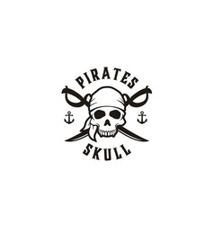 vintage pirates skull crossing swords emblem logo vector image
