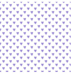 Watercolor seamless pattern of purple hearts vector