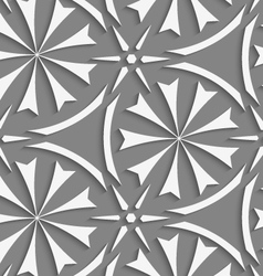 White geometrical flowers and stars seamless vector image
