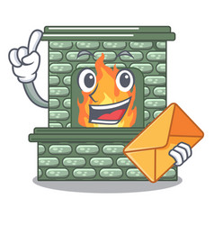with envelope cartoon a fireplace in the house vector image