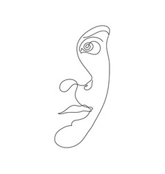 Woman face line art in retro style on white vector