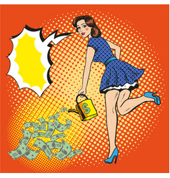 Woman watering money pop vector
