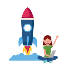 Woman with laptop rocket education school vector
