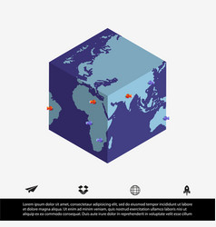 Worldmap and cube vector