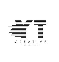 yt y t zebra letter logo design with black and vector image