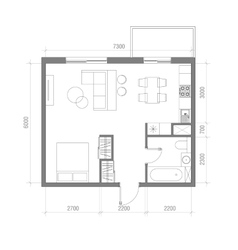 Architectural Floor Plan with Dimensions Studio vector image