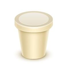 Blank Tub for Vanilla Dessert Yogurt Sour Cream vector image