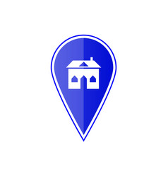 blue map pointer with house vector image vector image