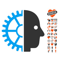 cyborg head icon with lovely bonus vector image vector image