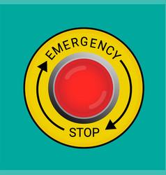 emergency stop button vector image vector image