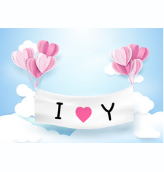 heart shape balloons hanging with banner vector image vector image