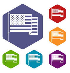 american flag icons set hexagon vector image