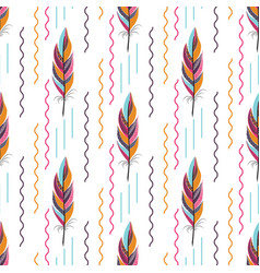 beautiful large bright colored feather pattern vector image vector image