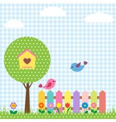 Birds and birdhouse vector image vector image