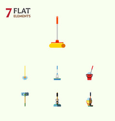 flat icon mop set of besom cleaner mop and other vector image vector image
