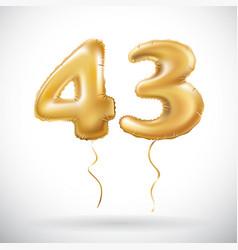 golden 43 number forty three metallic balloon vector image