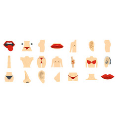 human body part icon set flat style vector image