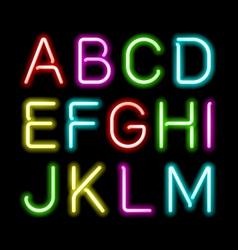 Neon glow alphabet vector image vector image
