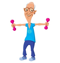 old man with dumbbells vector image