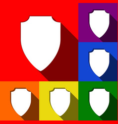 shield sign set of icons vector image vector image