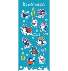 Snow sticker set with cartoon penguins snowman vector image