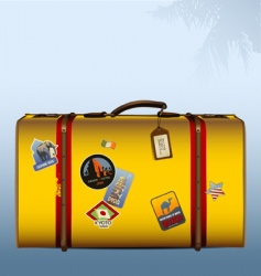 vintage suitcase yellow vector image vector image
