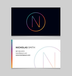 business-card-letter-n vector image vector image