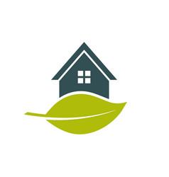 green house leaf logo vector image vector image