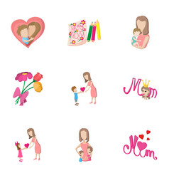 mothers day holiday icons set cartoon style vector image