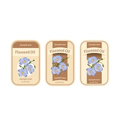 Set of labels for flaxseed oil vector image