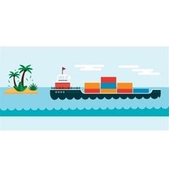 Ship cargo sea transportation vector