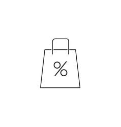 shopping bag percent icon vector image