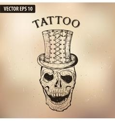 Steampun tattoo skull vector