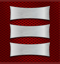 three asymmetric scratched metal plates on red vector image