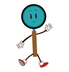 Cartoon magnifier walk character cheerful vector