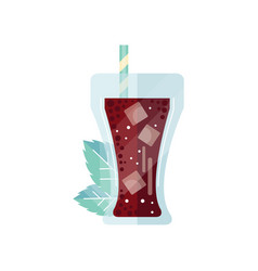 cola glass with ice cubes and straw vector image