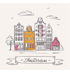 old houses in amsterdam netherlands vector image