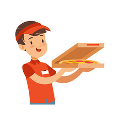 pizza delivery boy character with box boy in red vector image vector image