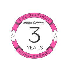 Realistic three years anniversary celebration logo vector