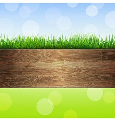 Wooden Background With Grass vector image vector image