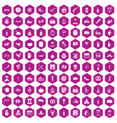 100 alcohol icons hexagon violet vector