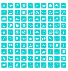 100 profession icons set grunge blue vector