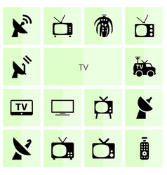14 tv icons vector image