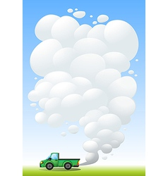 A green cargo with smoke at the back vector image