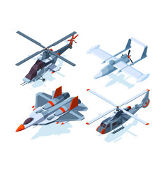 aircraft isometric warplanes and helicopter vector image