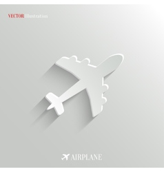 Airplane icon - white app button vector image