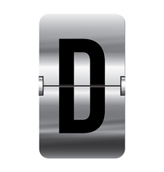 Alphabet silver flipboard letters d vector image